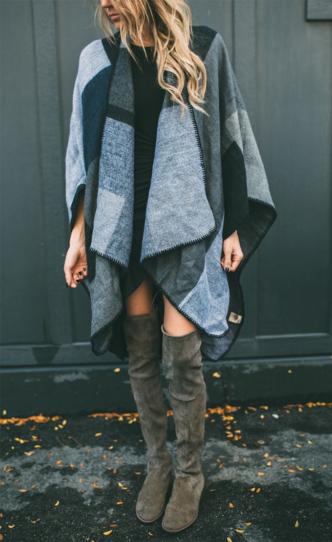 Casual Cape and Knee-high Boots