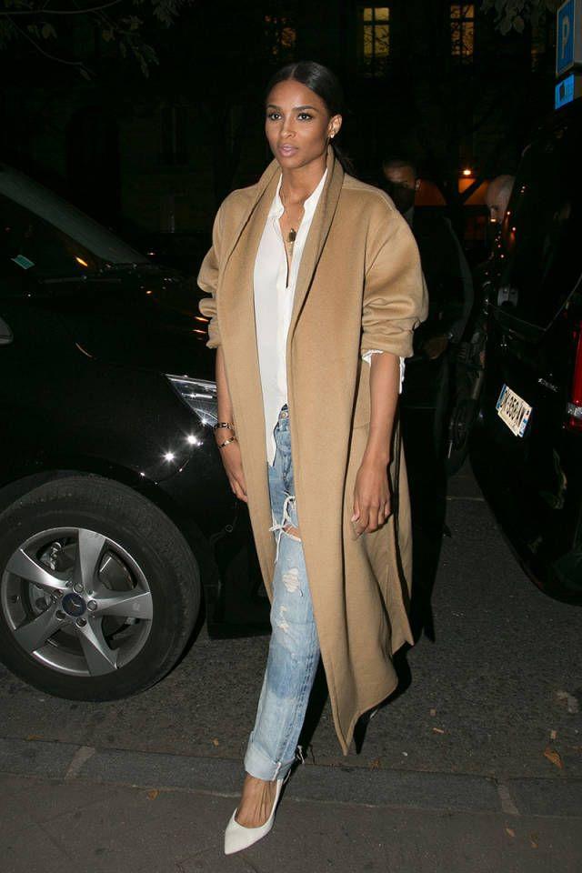 Celebrity's Camel Coat Look