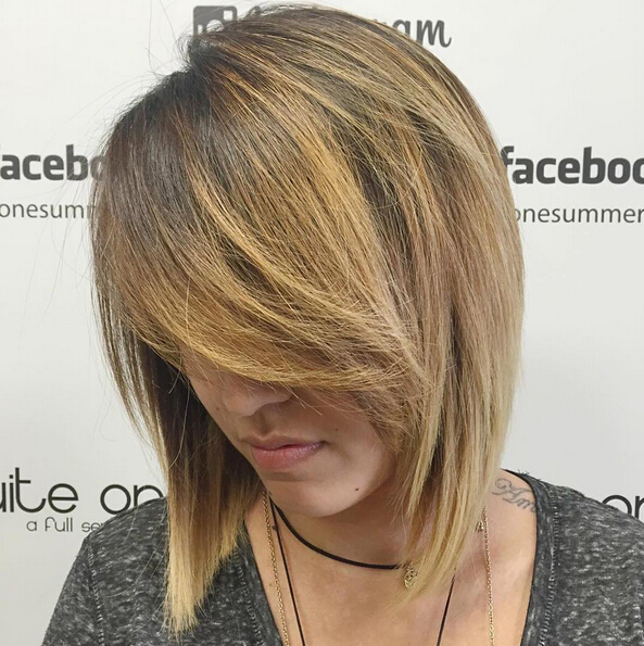 Layered Bob Hairstyle with Bangs