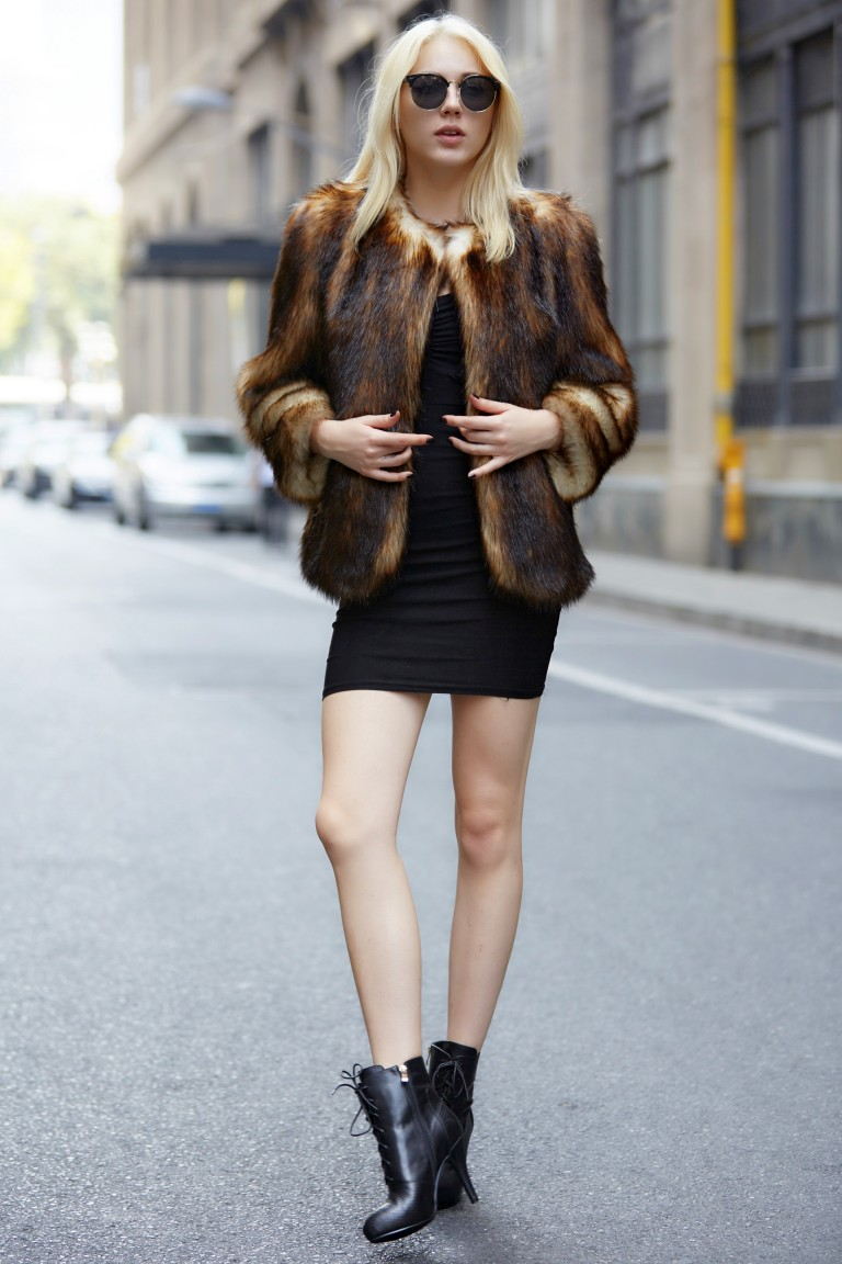 Coffee Faux Fur Coat