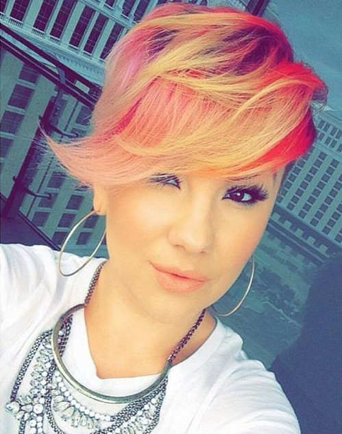 Colored Long Pixie Hairstyle