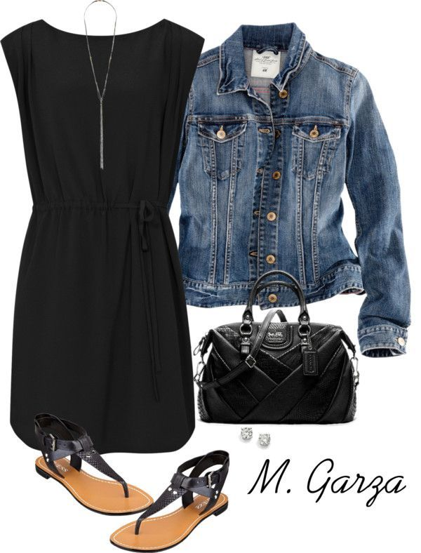 Denim Jacket and Black Dress