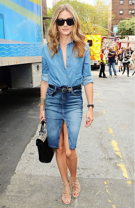 Denim Outfit and Nude Cage Shoes