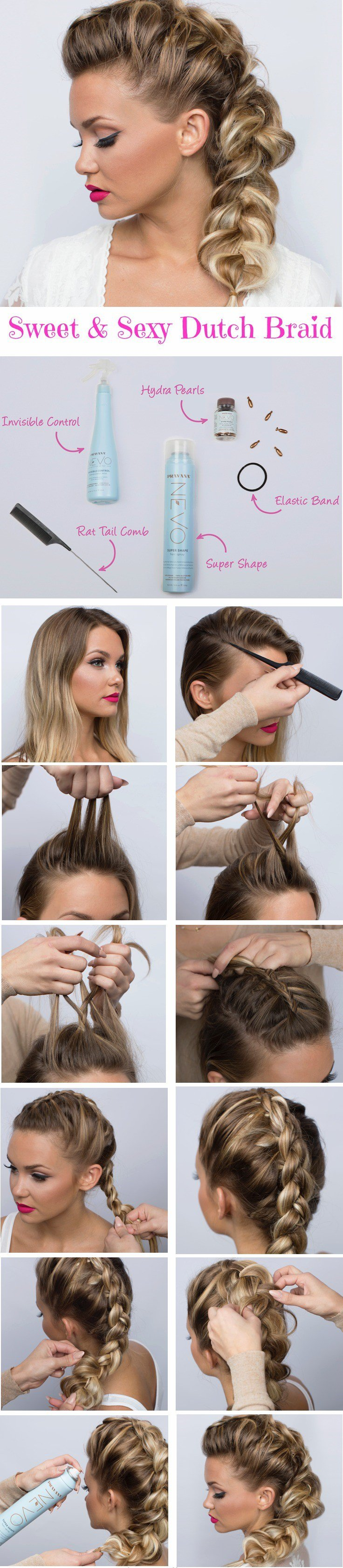 Dutch Braid Ponytail Hairstyle Tutorial