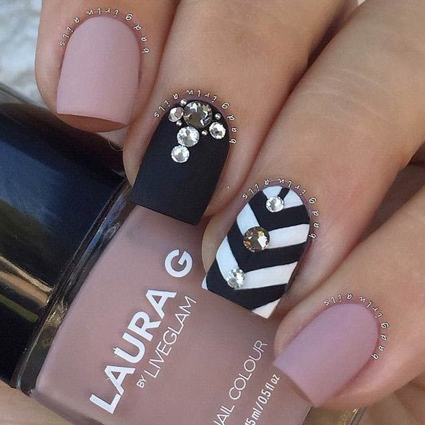 Embellished Rose Quartz Nails - 25 Cute Matte Nail Designs You Will Love - Pretty Designs