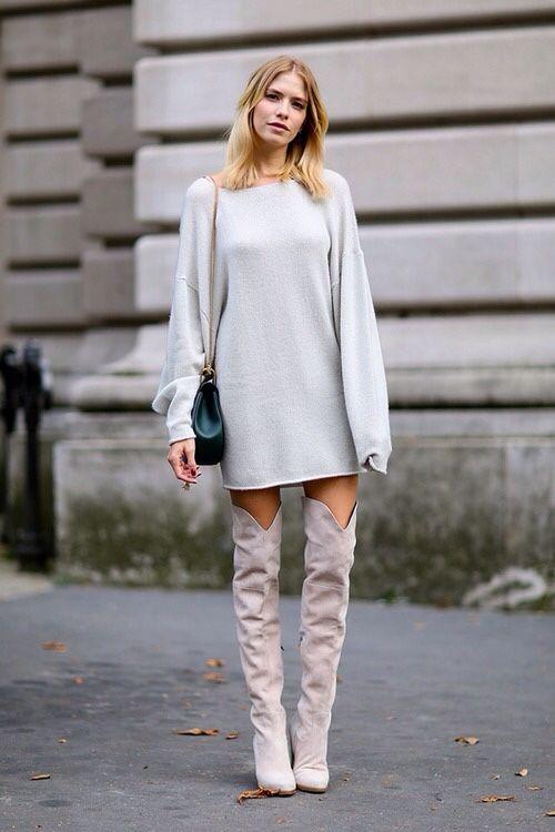 Fashionable Knee-high Boot Look