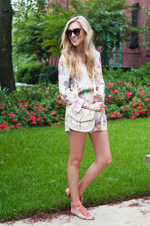 Floral Romper and Fringe Sandals