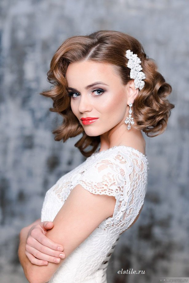 Glamorous Wedding Hairstyle for Medium Hair