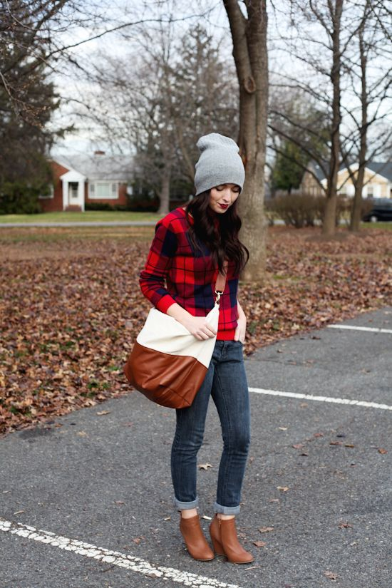 Gray Beanie and Camel Ankle Boots
