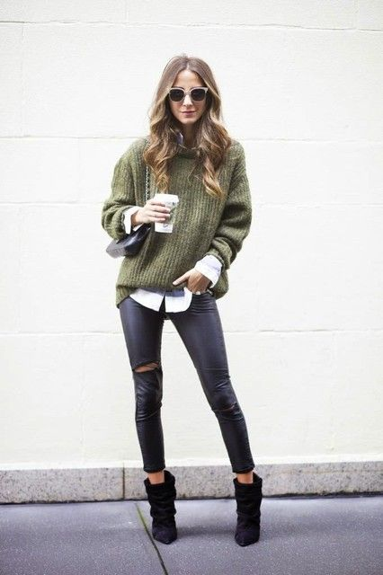 Green Oversized Sweater and White Shirt