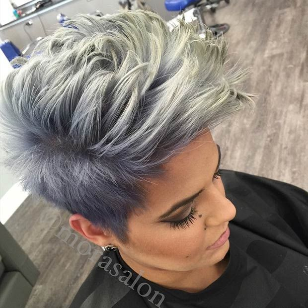 Grey Faux Hawk Hairstyle