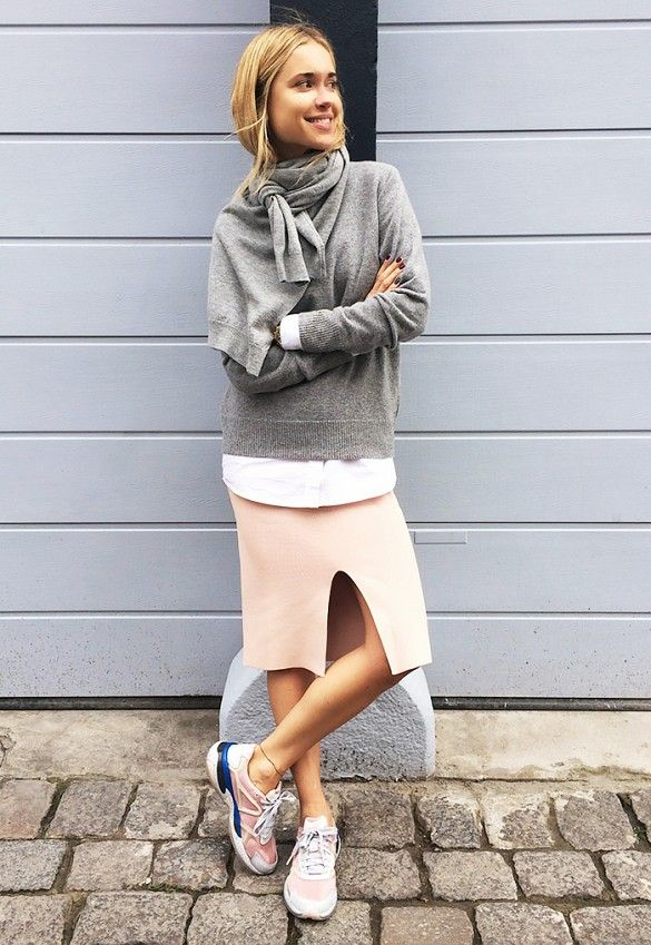 Grey Sweater and Pink Skirt