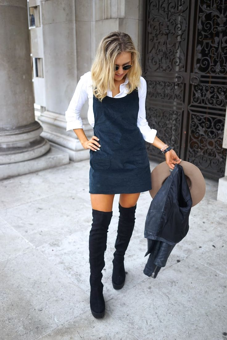 High Boots and Pinafore Dress