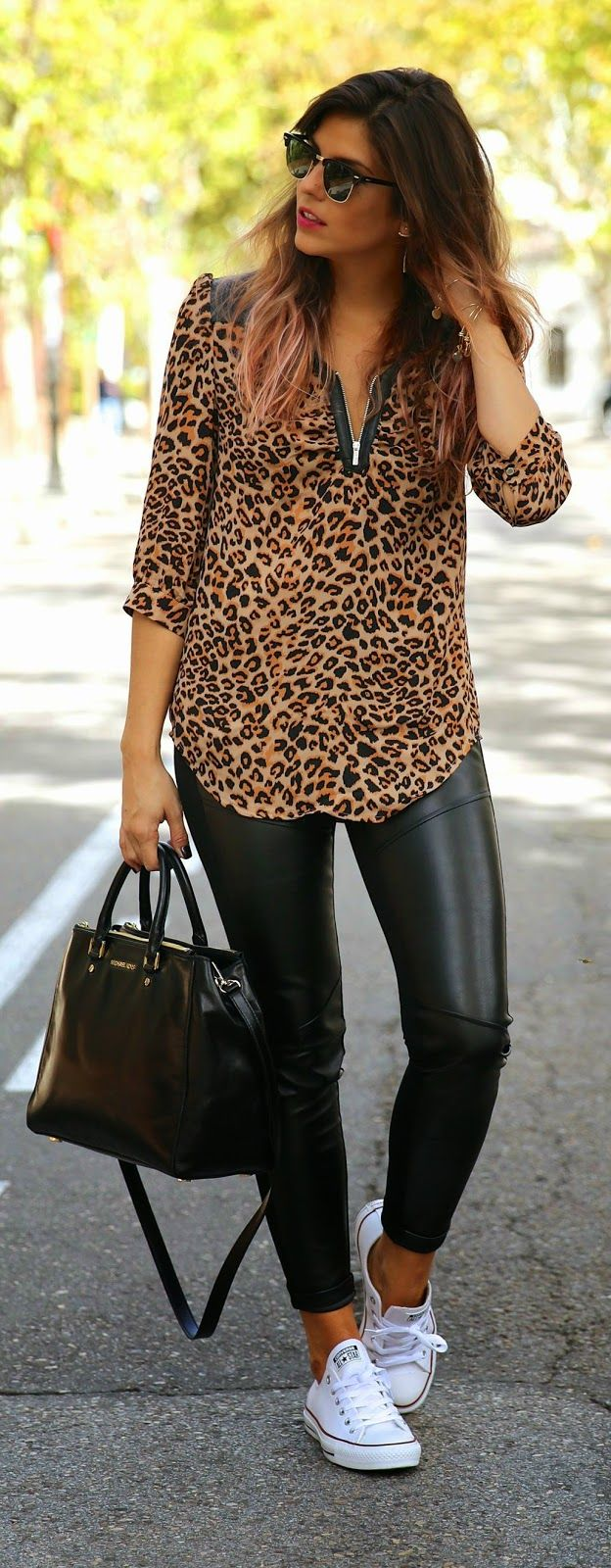 Leopard Top and Black Leggings