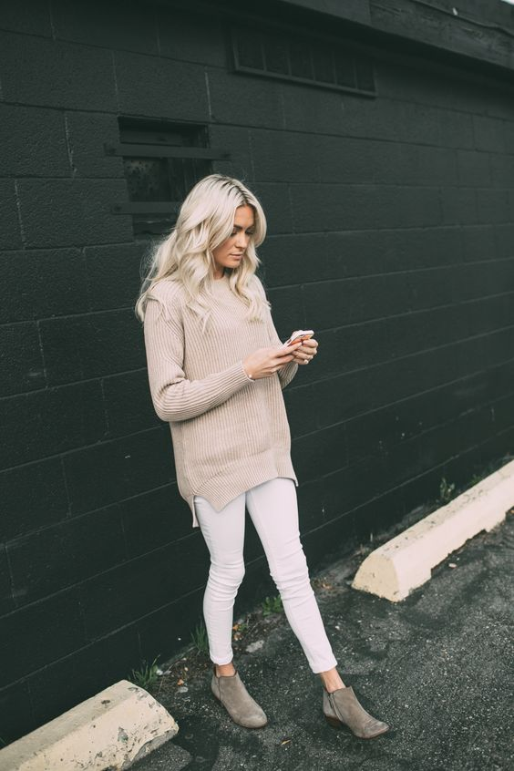 Light Sweater and White Jeans