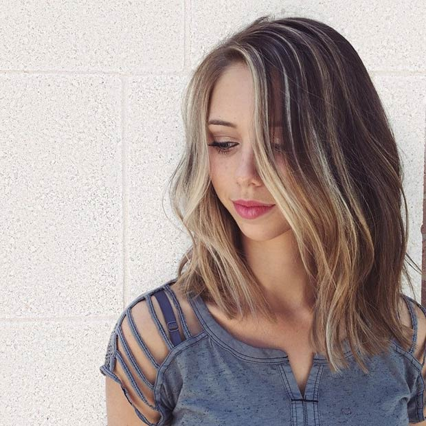 Long Bob Hairstyle with Highlights