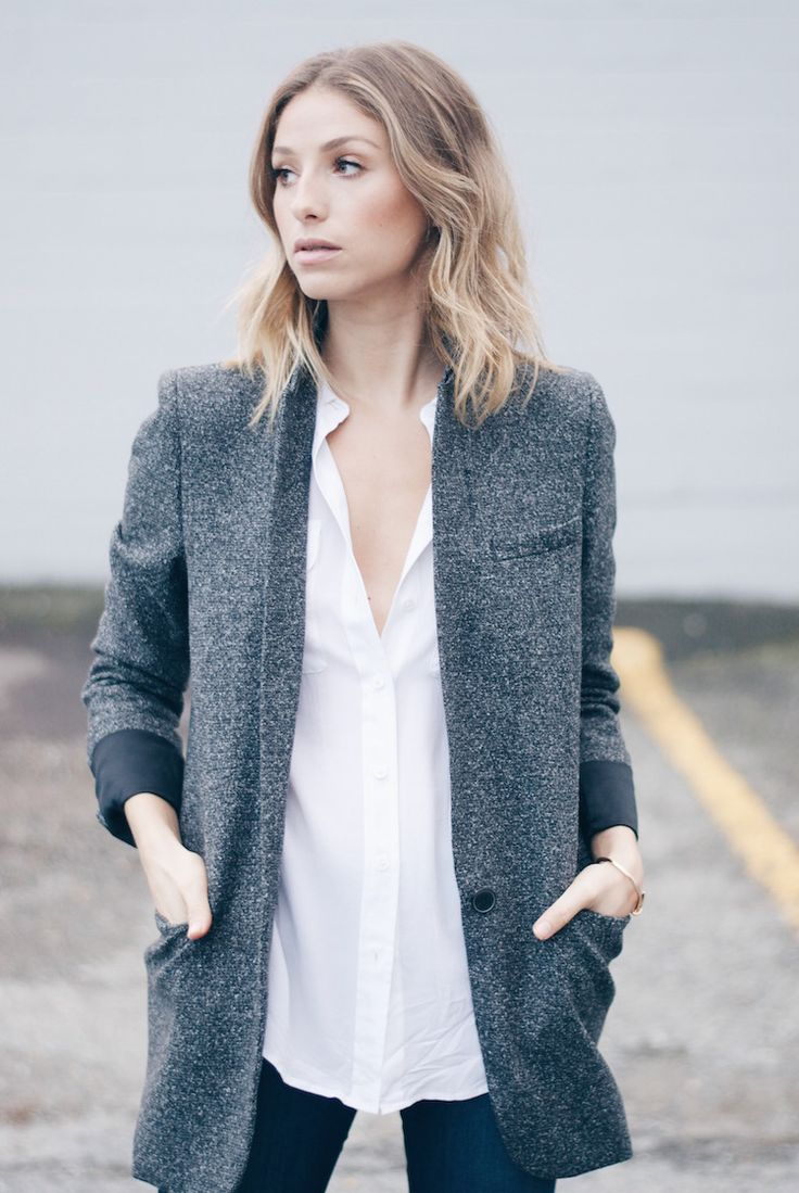 Long Grey Tweed Blazer
