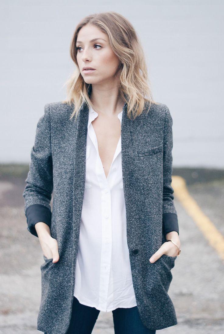 Long Grey Tweed Blazer