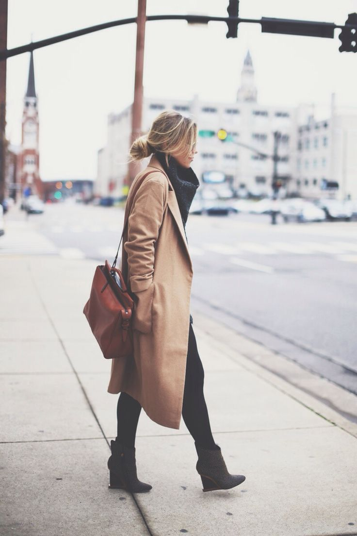 Low Bun and Camel Coat