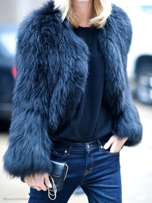Navy Blue Faux Fur Jacket