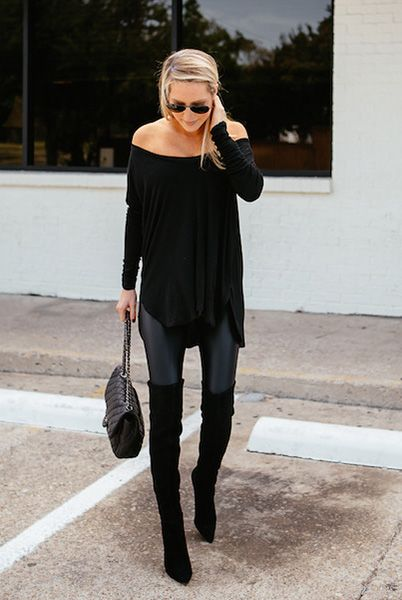 Off Shoulder Tunic and Black Boots