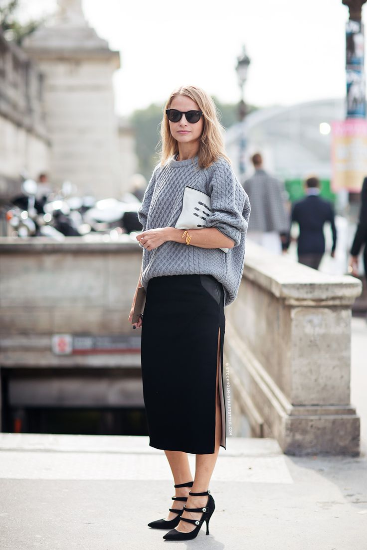 Oversized Sweater and Black Skirt
