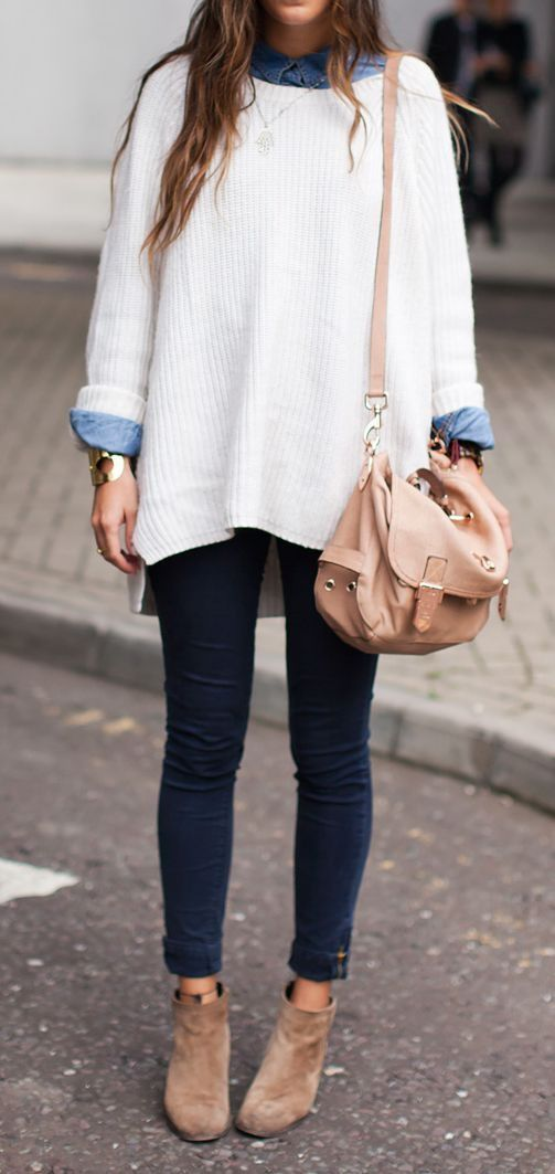 Oversized Sweater and Cuffed Jeans