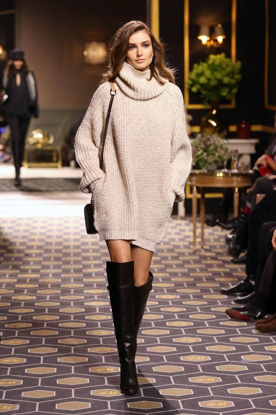 Oversized Sweater and Knee-high Boots