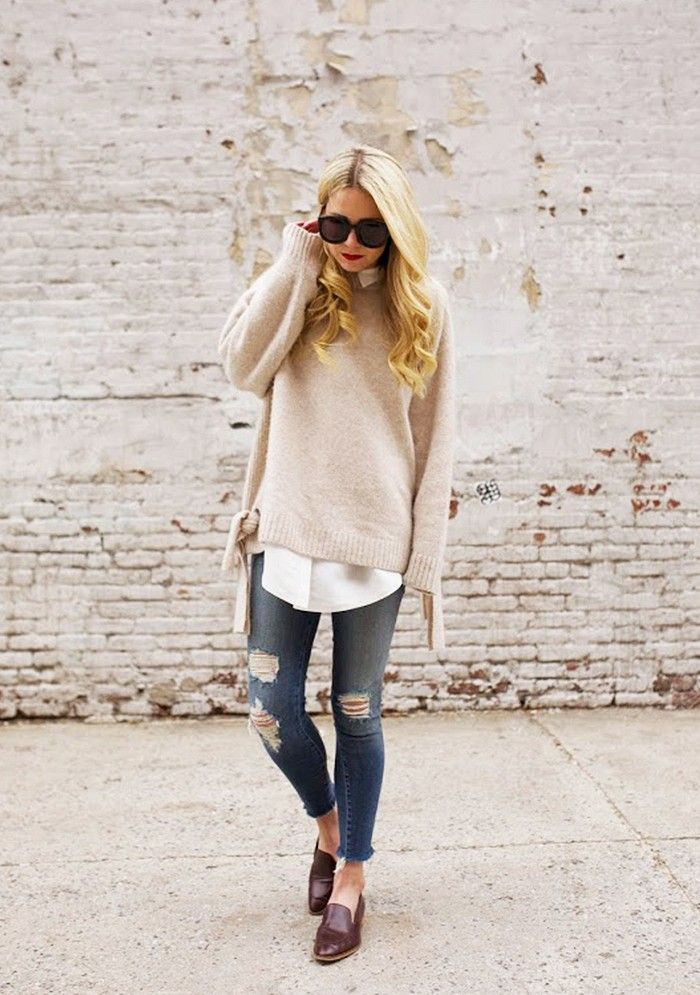 Oversized Sweater and Loafers