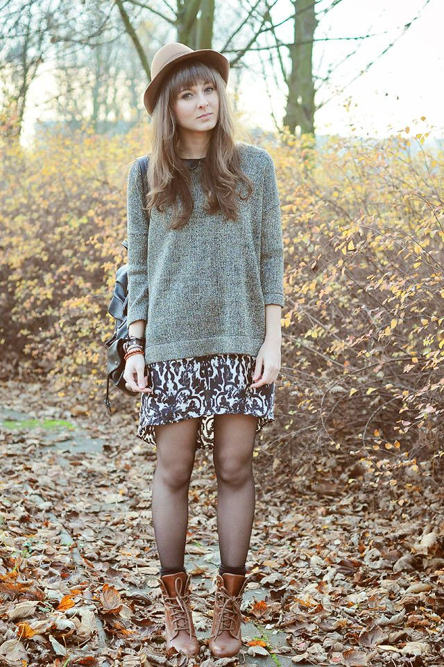 Oversized Sweater and Printed Dress