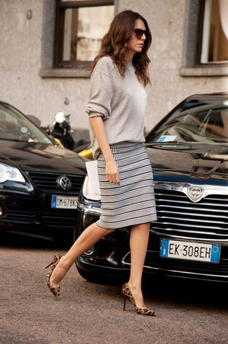 Oversized Sweater and Striped Skirt