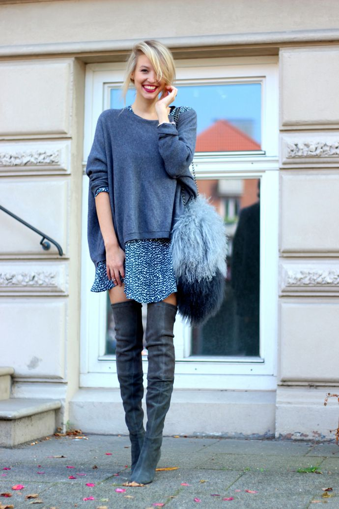 Oversized Tee and Knee-high Boots