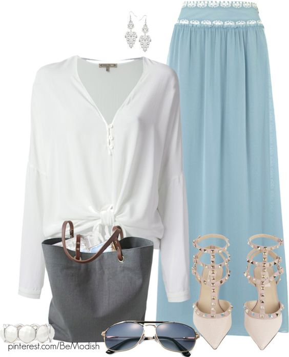Pale Blue Skirt Outfit