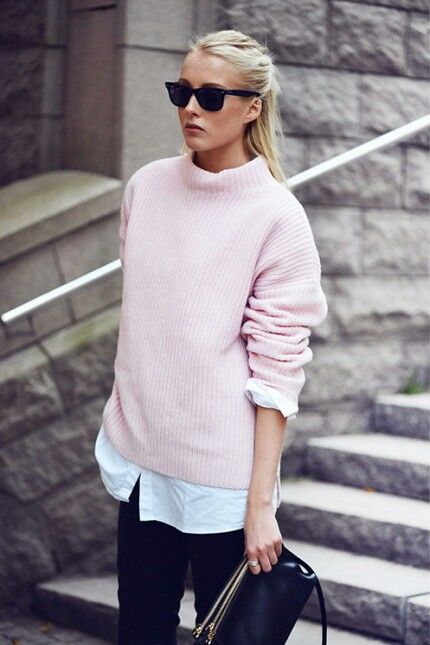 Pink Sweater and Black Jeans