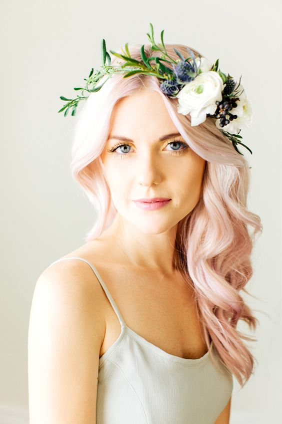 Pastel Pink Wedding Hairstyle