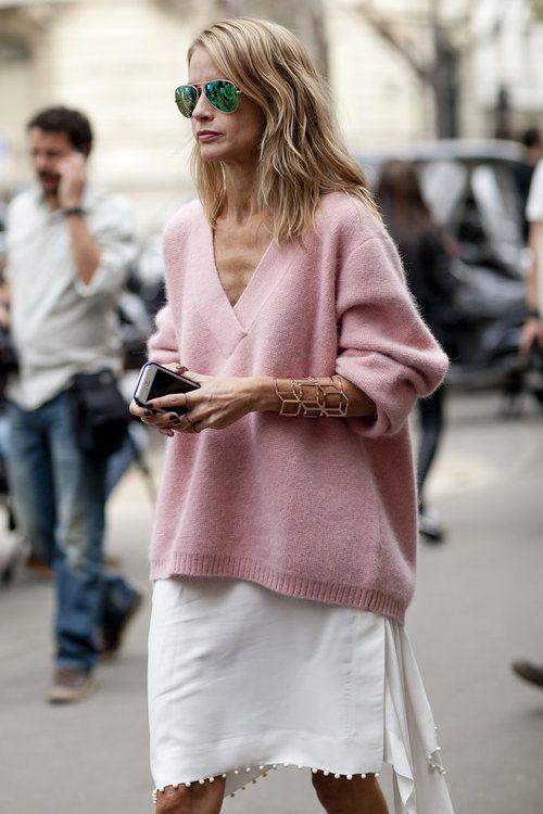Pink Sweater and Stylish Skirt