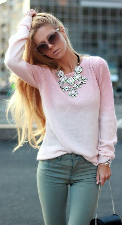 Powder Pink Sweater and Necklace