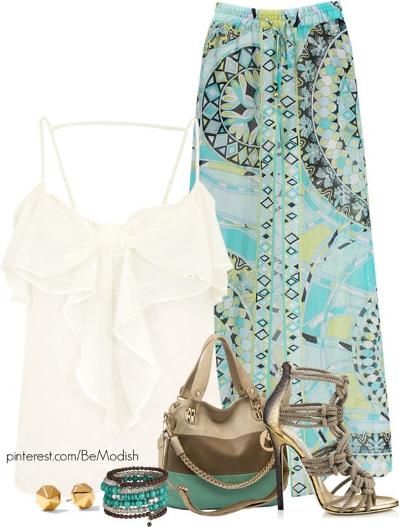 Printed Skirt and White Top