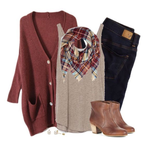 Red Cardigan and Plaid Scarf