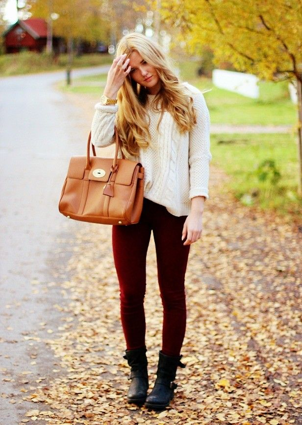 Red Leggings and Black Boots