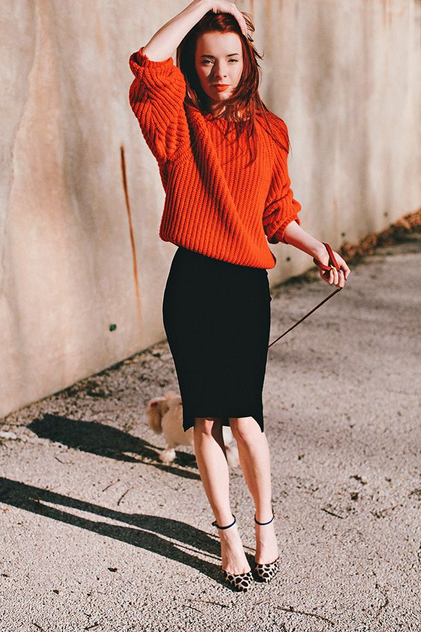 Red Sweater and Pencil Skirt