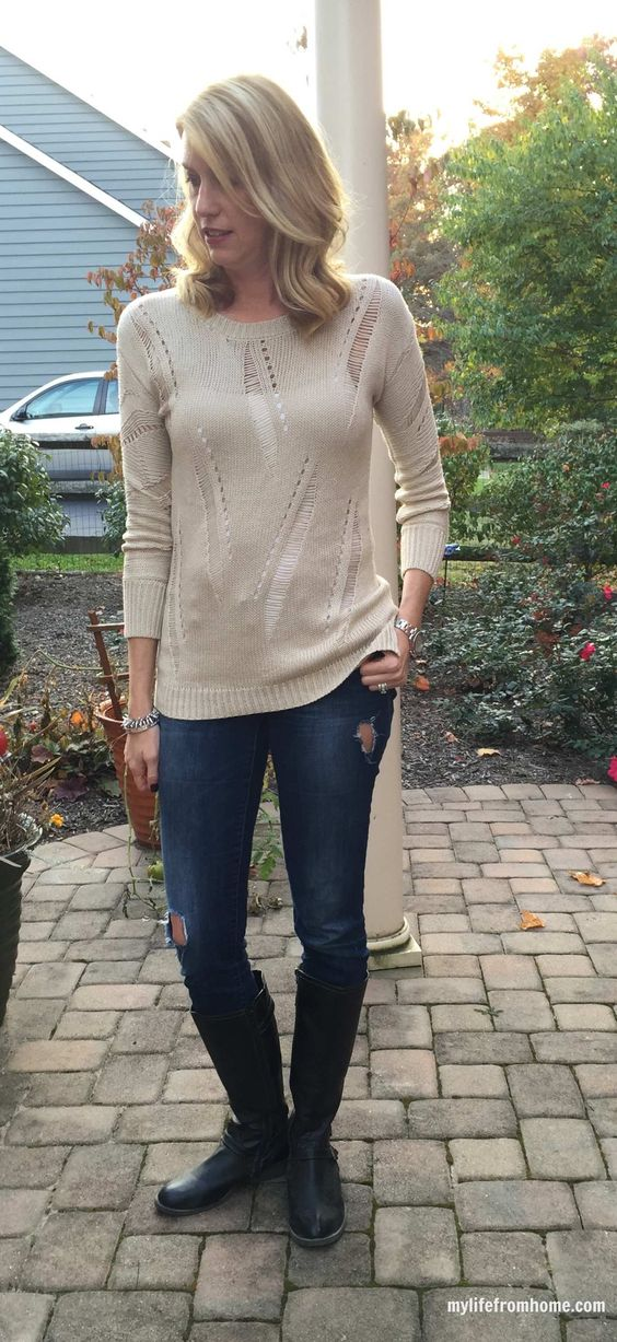 Rice White Sweater, Knee-high Boots and Jeans