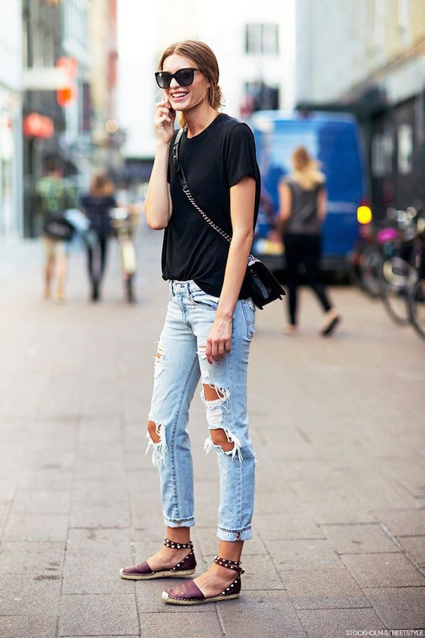 Ripped Jeans and Black Top