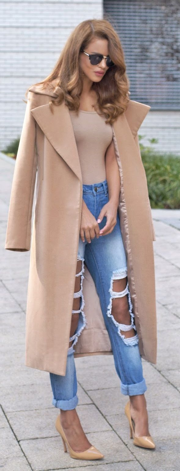 Ripped Jeans and Camel Coat
