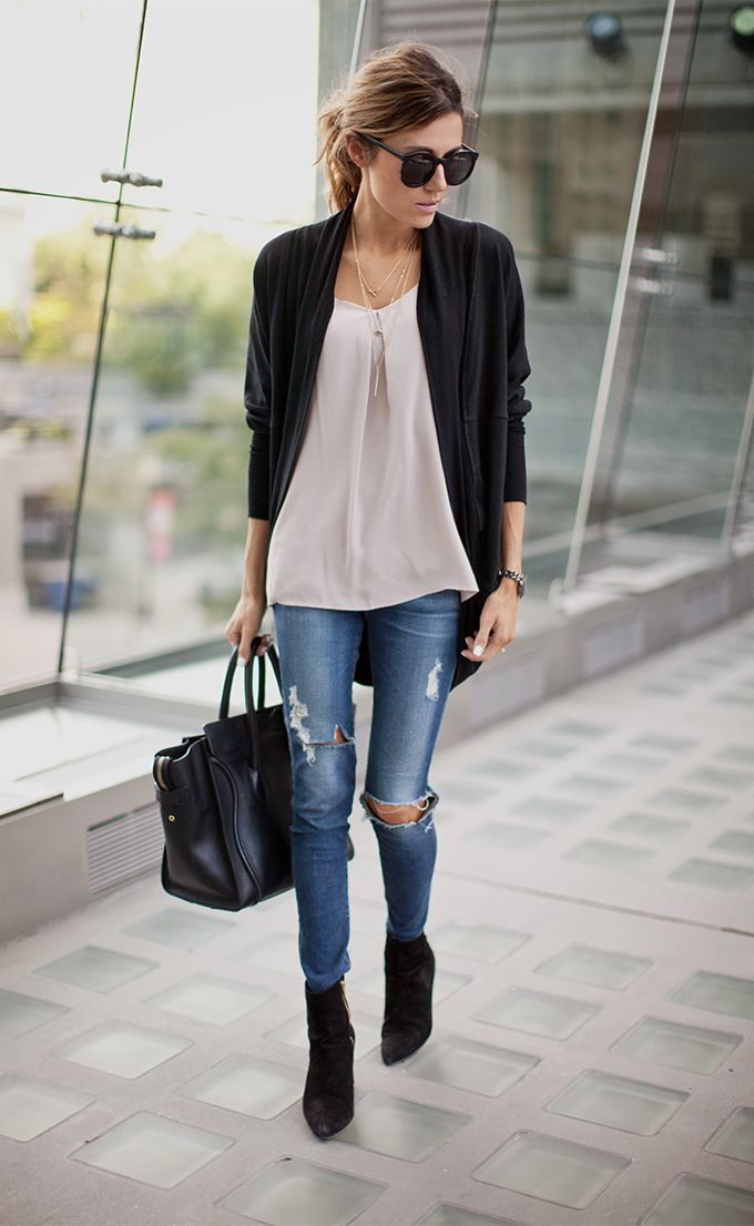 Ripped Jeans and Cardigan