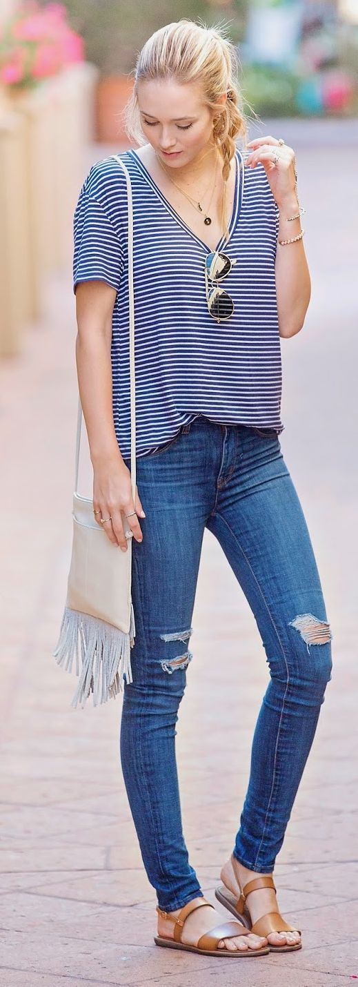 Ripped Jeans and Striped Tee