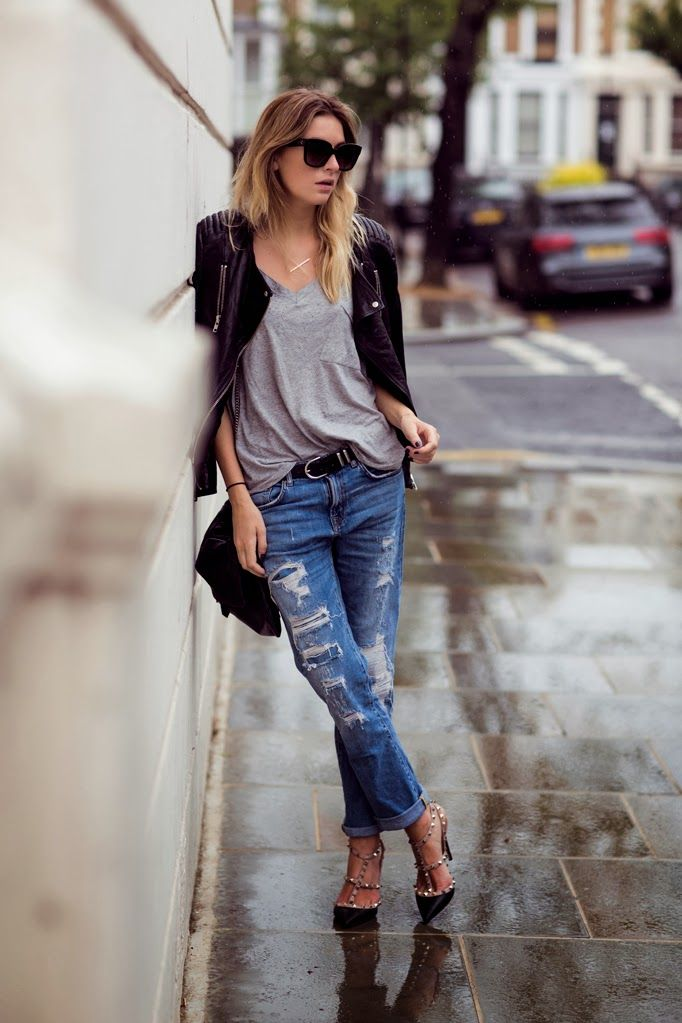 Ripped Jeans and T-strap Heels