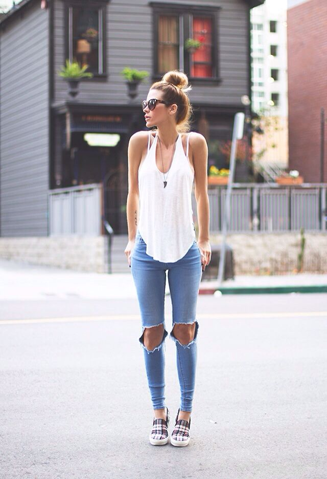 Ripped Jeans and Tank Top