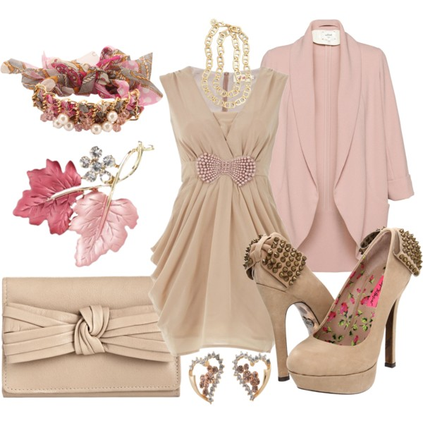 Rose Quartz Cardigan and Nude Evening Dress