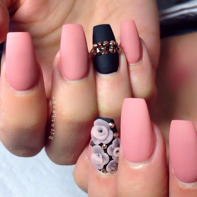 Rose Quartz Matte Nails